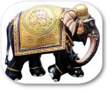 wooden painted elephants